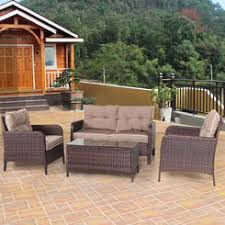 patio furniture clearance. Costway 4 PCS Outdoor Patio Rattan Wicker Furniture Set Sofa Loveseat W/ Cushions NEW Clearance A