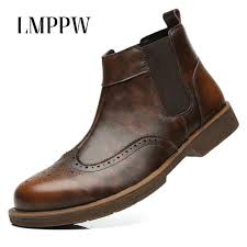 british style genuine leather chelsea boots men winter shoes retro