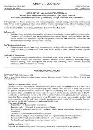 Food Service Manager Resume Sample