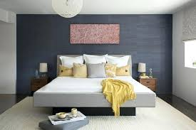 accent wall with gray photo 1 of 5 bedroom contemporary dark blue upholstered bed living room