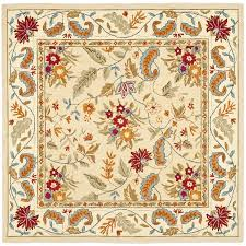 floor rug hand hooked ivory square area rugs for contemporary