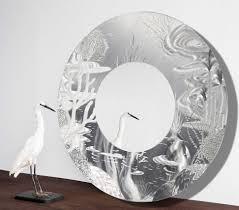 mirror 102 all natural silver abstract marine life circle wall mirror modern metal wall accent art