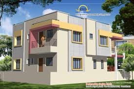 Duplex House Plan and Elevation   Sq  Ft    a taste in heavenDuplex House Plan and Elevation   Sq M   Sq  Ft