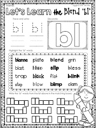 Worksheets Consonant Blends Bl Worksheets for all   Download and ...