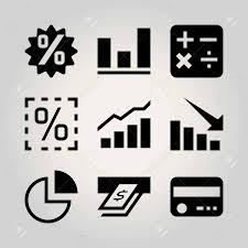 Pie Chart Percentage Calculator Technology Vector Icon Set Calculator Credit Card Pie Chart
