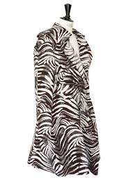h m brown and ecru zebra print trench coat size 38