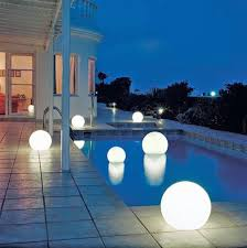 stupendous modern exterior lighting. exterior led lights terrace and pool with luminous spheres stupendous modern lighting