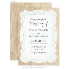 Burlap And Lace Wedding Invitations Rustic Burlap Lace Wedding Invitations Print Creek Studio Inc