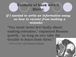 the five paragraph essay ppt  example of hook a quote