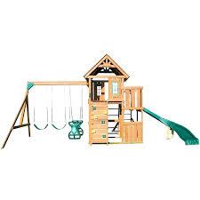 swing n slide cedar brook play set with two swings monkey bars picnic table and glider swing n slide
