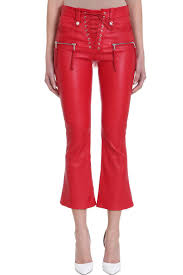 ben taverniti unravel project lace up red leather pants red