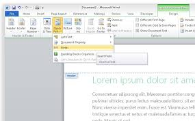 Ms Word Header How To Create A Footer With A Chapter Name And Page Number