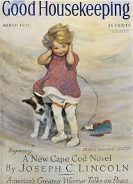 Good Housekeeping Advertising Good Housekeeping Copyright 1932 Girl And Dog In Storm Mad Men Art