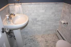 new powder room white carrara marble subway tiles backsplash marble basketweave tiles and white pedestal sink