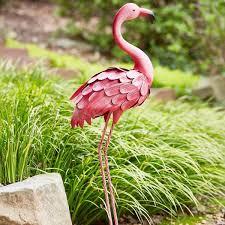 home garden 37 pink metal flamingo