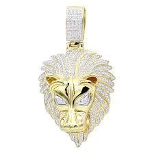 unique 10k gold lion head diamond pendant for men 09ct by luxurman mainye jpg