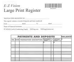 Large Print Checkbook Register