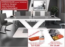 Design Esstisch He 999 Grau Weiß Hochglanz Ausziehbar 160 208