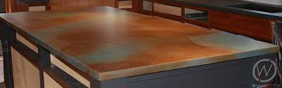 acid stained concrete kitchen island