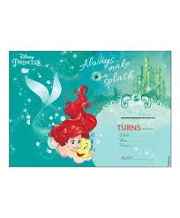 Disney Ariel The Mermaid Invitations Cards Pack Of 10 Green Online