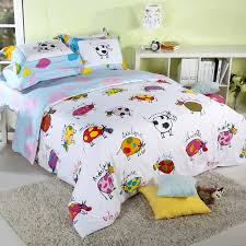 light blue and white colorful cow cattle print farm animal themed full queen size kids bedroom bedding sets