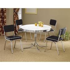 coaster pany white chrome plated metal round retro dining table