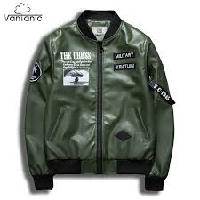 vantanic leather jacket men coat pu leather jacket printed military patchwork design er jacket jaqueta masculina