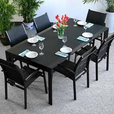 choose this extending dining set violet black 6 seater for its practicality