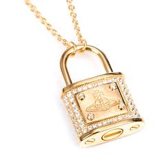 vivienne westwood darianne small padlock necklace yellow gold