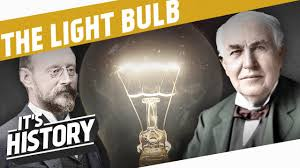 Image result for edison watching his invented lamp