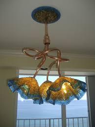 custom made copper blown glass chandelier amber turquoise chandelier chandelier art