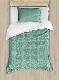 green duvet cover set vintage style victorian garden pattern antique design old fashion ornaments decorative bedding set with pillow shams