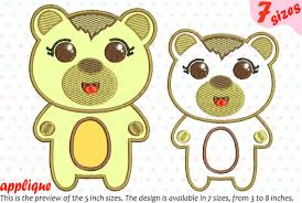 Teddy Bear Applique Designs Cute Bear Applique Designs For Embroidery 16a By Hamhamart