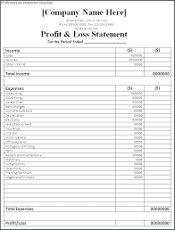 Simple P L Excel Template Project Profit And Loss Template Excel