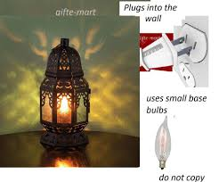 Electric Night Light Lamp Plug In Black Punched Moroccan Electric Lantern Bedside