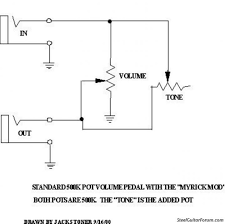 the steel guitar forum view topic wiring diagram for volume here is a schematic that includes the myrick tone mod just eliminate that extra tone pot and you have a basic volume pedal schematic