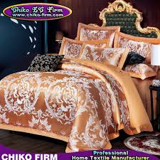 golden color king size cotton fabric luxury wedding jacquard bedding sets