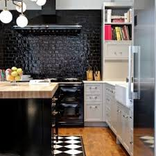 Black and white ceramic tile floor Olean Alameda Small Transitional Kitchen Photos Example Of Small Transitional Lshaped Medium Tone Wood Houzz Black And White Tile Floor Kitchen Ideas Photos Houzz