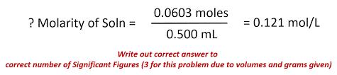 plug values into the molarity equation
