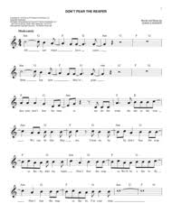 don t fear the reaper sheet music blue oyster cult sheet music to download and print world center of