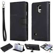 retro greek detachable magnetic pu leather wallet phone case for samsung galaxy note 4 black