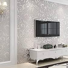 grey glitter wallpaper living room