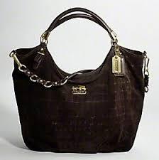 Coach Madison Embossed Suede Large Shoulder Bag - Dark Brown 15920, 2490, N