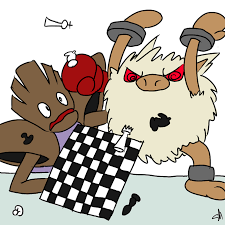 furry creatures flipping table of checkers in a fit of rage