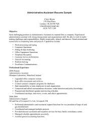 Example Of Administrative Assistant Goals And Objectives Resume