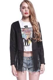 black open front fringe detail long sleeve chic jacket