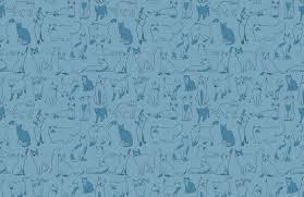 <b>Blue Cool</b> Cat <b>Pattern</b> Wallpaper Mural | MuralsWallpaper