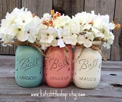 Vintage Decorated Mason Jars Painted Mason Jars Vase Vintage looking Painted Mason Jars 1