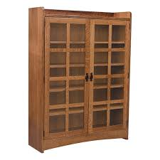 mission bookcase w glass doors