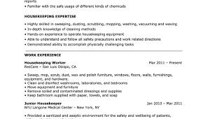 Housekeeping Experience Fair Housekeeping Houseman Resume Also